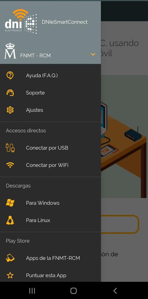 dnie selecciona wifi o usb